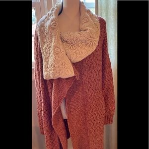 Anthropologie Knitted Knotted Flower Sweater Coat